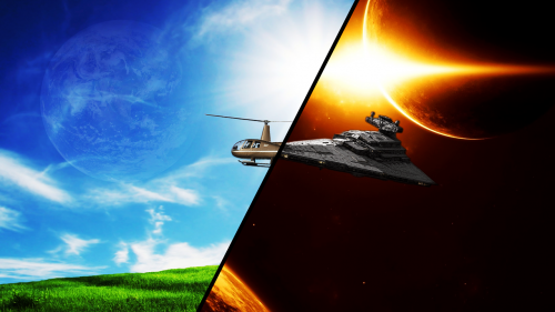 star wars helicopter space