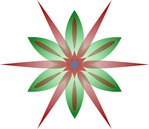 starburst flower red and green