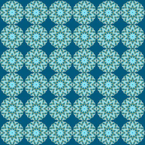 Starburst Pattern Greens And Blues