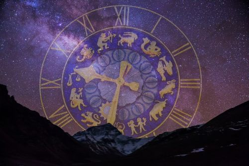 starry sky zodiac sign clock
