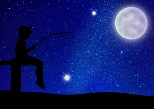 starry sky  moon  boy