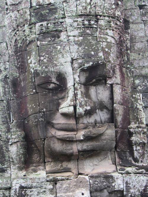 statula,angkor wat,Angkor,šventykla,wat,Kambodža,senovės,asija,akmuo,orientyras,Iš arti,akmens veidas