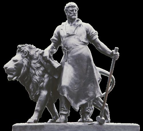 statue lion blacksmith