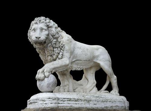 statue lion ball