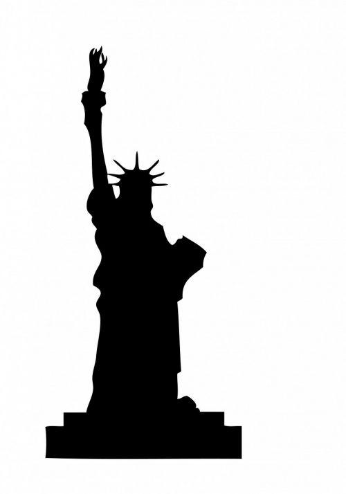 statue liberty black silhouette
