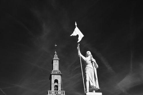 statue of joan of arc photo black white warrior 1412-1431