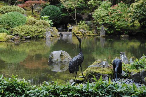 statues japanese garden garden