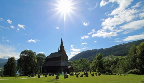 stave church norway back light