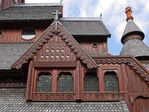 stave church roof landscape close up