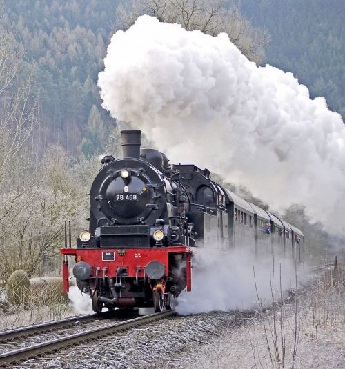 steam locomotive passenger train early train