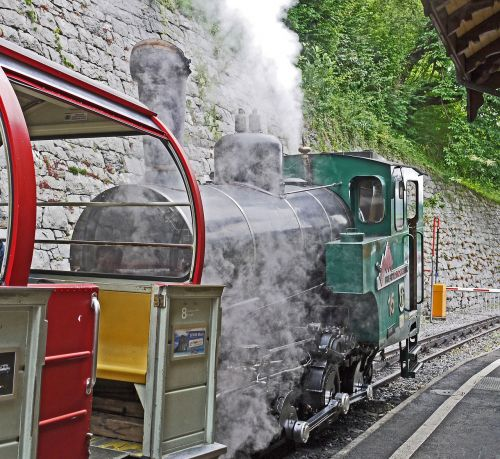 steam locomotive mountain railway brienz
