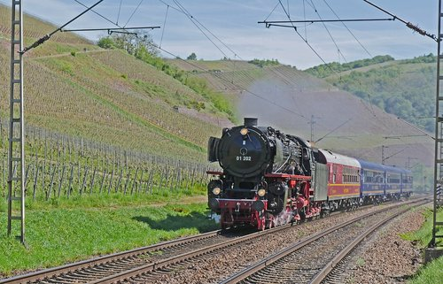 steam locomotive  vineyards  saar valley