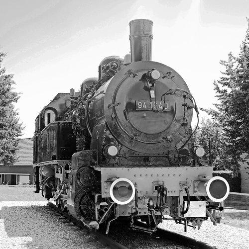 steam locomotive  monochrome  historically