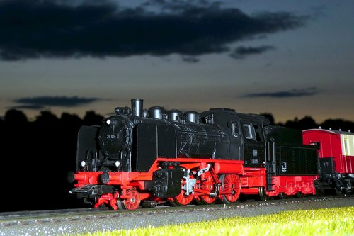 steam locomotive  locomotive  night photograph