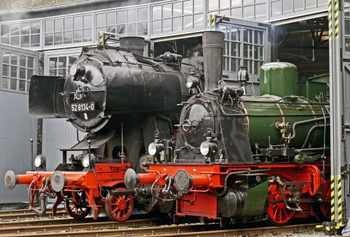 steam locomotives locomotive shed ready for use