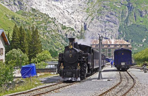 steam railway furka-bergstrecke rhône glacier glacier bed