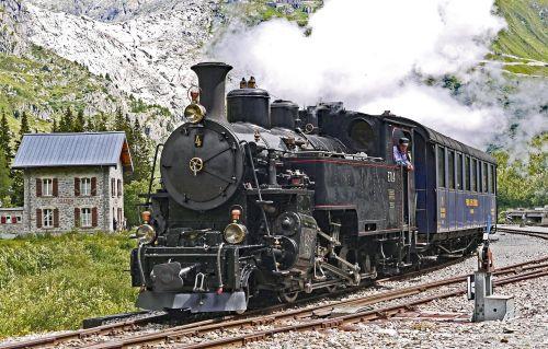 steam railway furka-bergstrecke locomotive 4 exit at gletsch