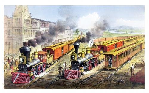 Steam Trains Vintage Poster
