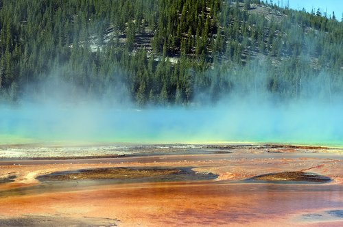 steam vapors over prismatic pool  thermal  color
