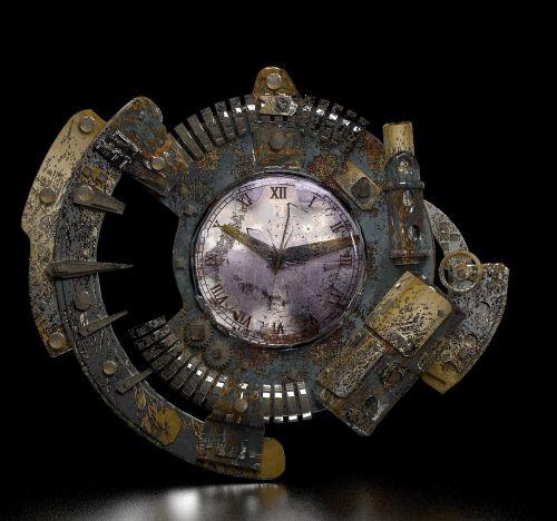 steampunk clock grunge