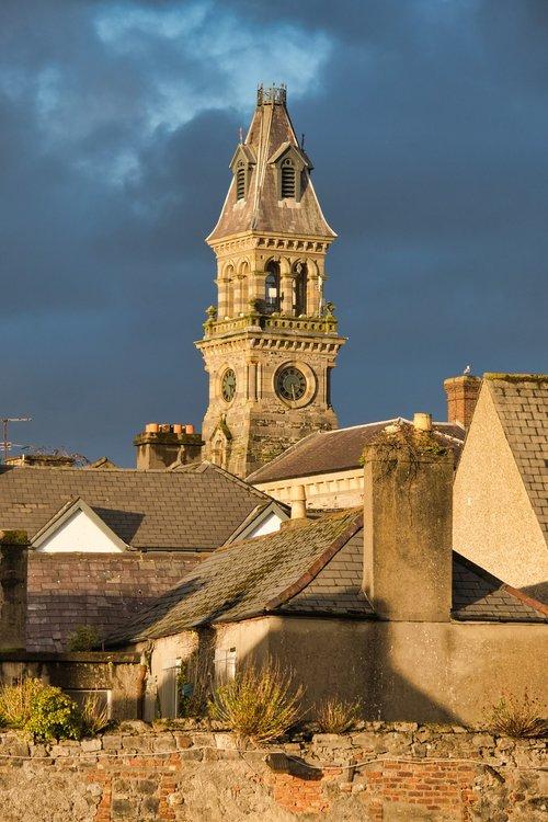 steeple  church clock  sky