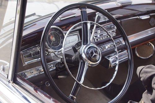 steering wheel  old auto  monument