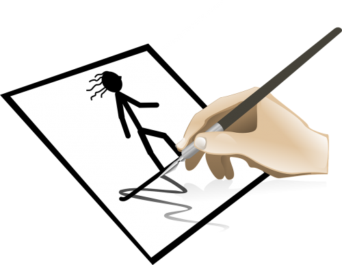 stick figure pen hand