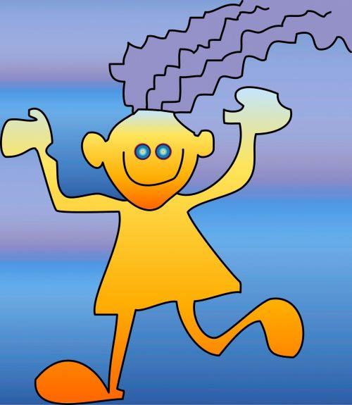laimingas, Stick, mergaitė, gradientas, fonas, mėlynas, oranžinė, animacinis filmas, doodle, Moteris, Stick Girl