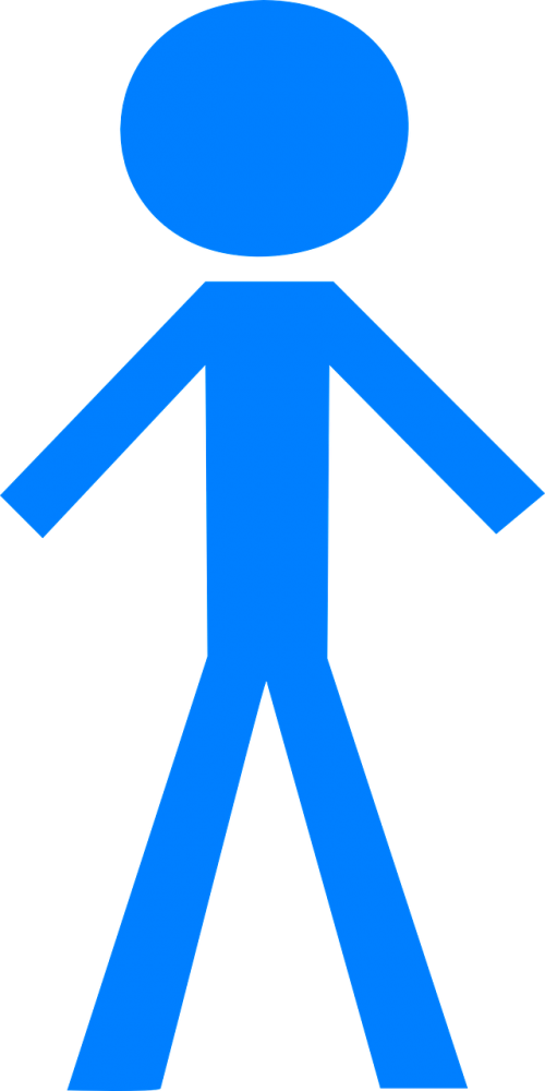 stick man blue figure