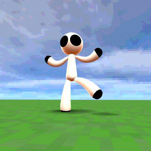 Stickman, šokiai, žalias, žolė, mėlynas, dangus, balta, debesys, kelti, animacinis filmas, manekenas, 3d, piešimas, Stickman