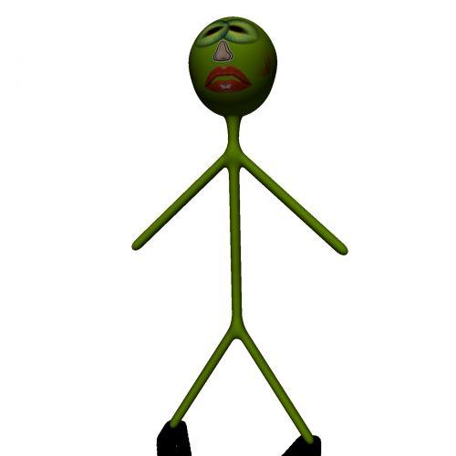 žalias, paprastas, Stickman, kelia, izoliuotas, balta, fonas, piešimas, 3d, piktograma, doodle, avatar, Stickman posing