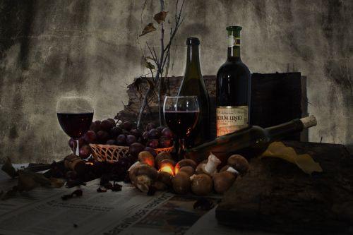 still life wine bottles