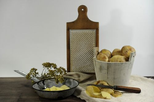 still life,potatoes,grater,pan,knife,old,nostalgia,vintage