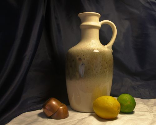 still life jug and fruit jug fruit and copper