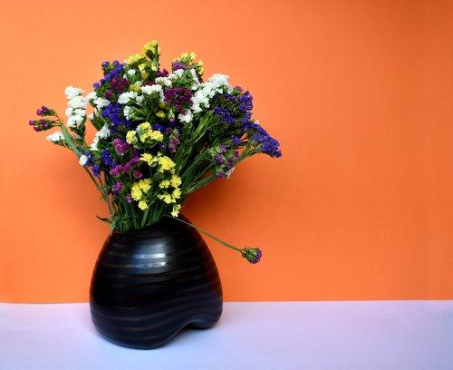 Natiurmortas, natiurmortas, gėlės, Limonium, puokštė, vaza, apdaila, dekoro, Deco