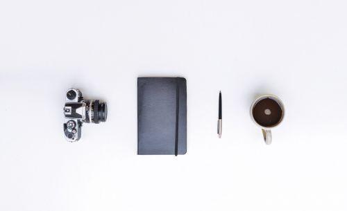 still life camera notebook