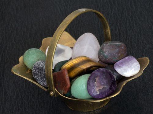 still life basket stones