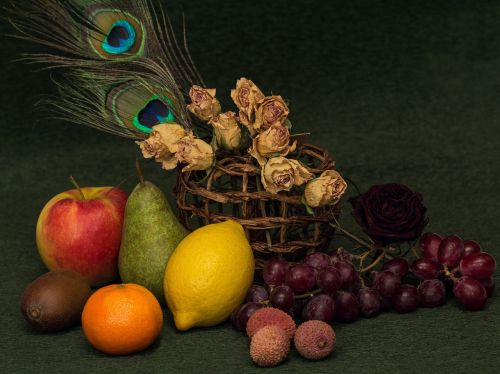 still life fruits flowers