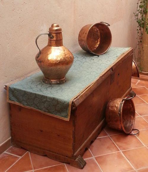 natiurmortas, kaimiškas, bronza, bagažinė