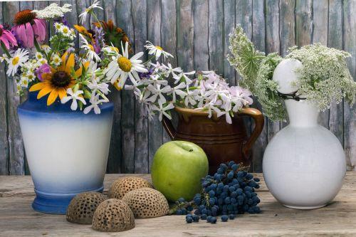 still life flowers vases