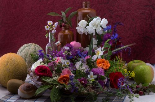 still life flowers composition