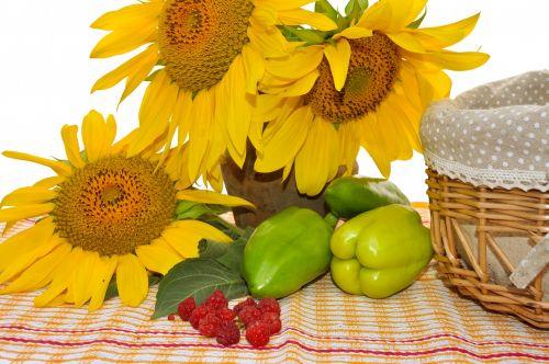 saulėgrąžos, gėlės, pipirai, vis dar & nbsp, gyvenimas, ruduo, derlius, daržovės, geltona, krepšelis, avietės, vis dar gyvenimas su saulėgrąžomis