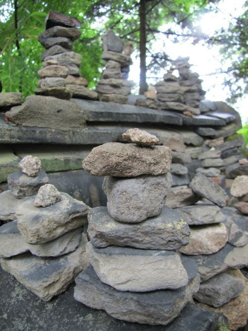 stone boulder stone tower