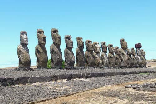 stone monuments a row of
