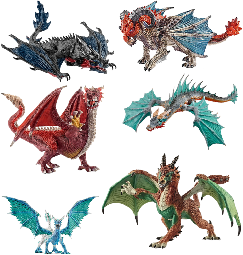 stone figures dragons isolated