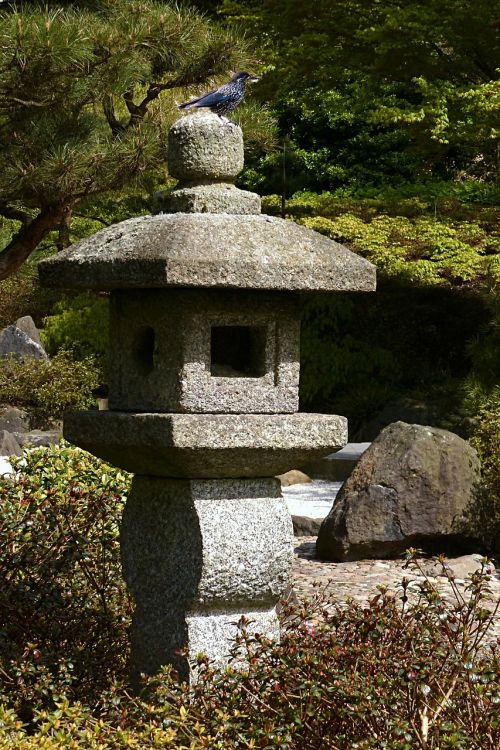 stone lamp japanese lantern from stone asian culture