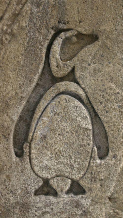 Stone Penguin Engraving