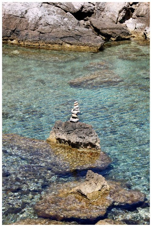 stone tower stack sea
