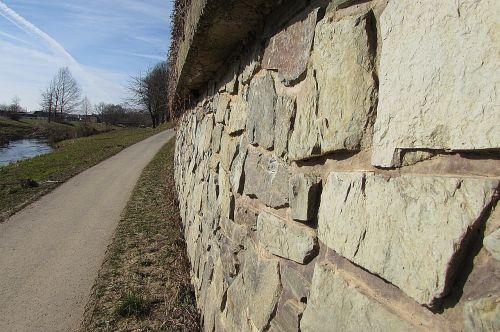 stone wall fixing sidewalk