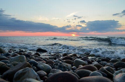 stones sea sunset